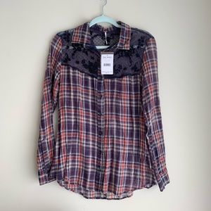NWT Free People Plaid Button Down with Lace